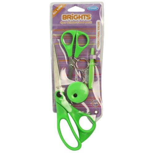 Hemline B4511.4.GREEN ножницы в яркой цветовой гамме в наборе с аксессуарами