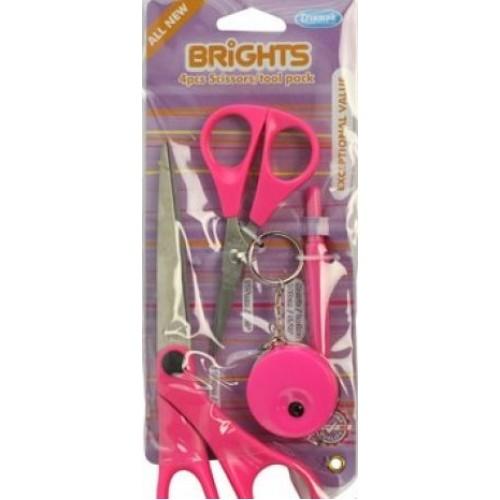 Hemline B4511.4.PINK ножницы в яркой цветовой гамме в наборе с аксессуарами