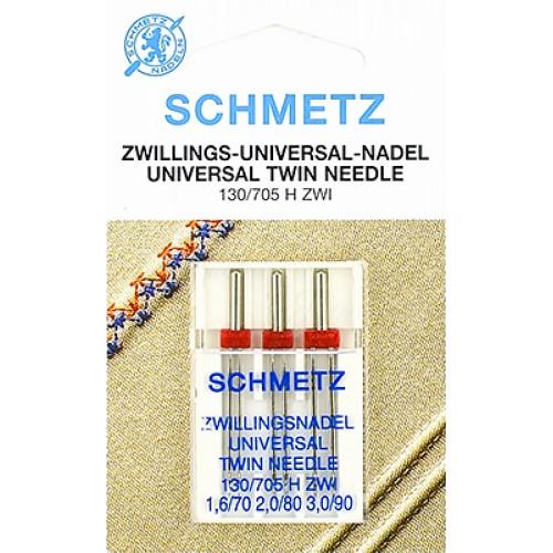 Schmetz иглы двойные универсальные 70/1.6 80/2 90/3
