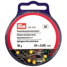 Prym 028490 Булавки с пластиковыми разноцветными головками 34х0,65мм в банке 15г