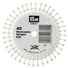 Prym 028601 Булавки с серебристыми пластиковыми головками 40х0,58мм в розетке 40шт