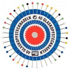 Prym 029139 Булавки термостойкие с разноцветными стеклянными головками 30х0,6мм в розетке 40шт