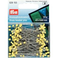 Prym 029153 Булавки термостойкие с желтыми стеклянными головками 43х0,6мм в коробке 20г