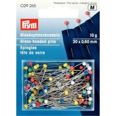 Prym 029265 Булавки термостойкие с разноцветными стеклянными головками 30х0,6мм в коробке 10г