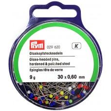 Prym 029620 Булавки термостойкие с разноцветными стеклянными головками 30х0,6мм в банке 9г