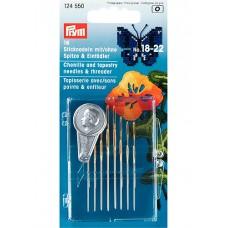 Prym 124550 Набор игл для вышивания №18-22 16шт с нитевдевателем в коробочке