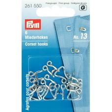 Prym 261550 Крючки для корсетов №13 серебристые 6шт