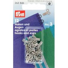 Prym 263846 Крючки для одежды №3 серебристые 12шт